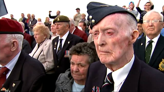 world war ii: veterans mark 70th anniversary of d-day landings; france: normandy: at sea: ext gvs d-day veterans on deck of ferry for ceremony to... - war veteran stock videos & royalty-free footage
