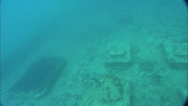 stockvideo's en b-roll-footage met world war ii wreckage lies on the seabed of palau reef. - scheepswrak