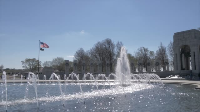 world war ll memorial and washington monument, washington dc, united states of america, north america - fountain stock videos and b-roll footage