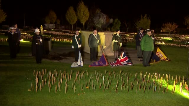 100th anniversary of the end of the Battle of the Somme Flag bearers with flags laid on the ground in tribute as people stand in silence to remember...
