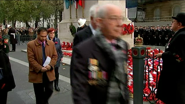 world war one centenary armistice day commemorations cenotaph ceremony more of wreath laying / wfa padre brother nigel cave saying prayers sot - padre stock videos & royalty-free footage