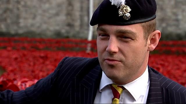 World War One Centenary Armistice Day commemorations ENGLAND London Tower of London Captain Tony Harris interview SOT
