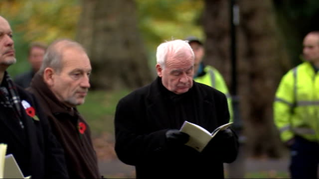 World War One Centenary Armistice Day commemorations ENGLAND London Battersea Park **Music heard SOT** People including worker standing during...