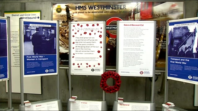 World War One Centenary Armistice Day commemorations ENGLAND London EXT First World War posters and notices at Westminster Tube Station 'War Poems on...