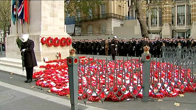 World War One Centenary Armistice Day commemorations London Poppy wreaths at cenotaph during silence