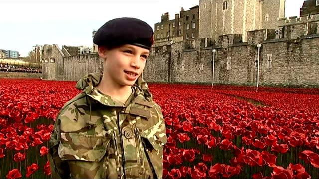 world war one centenary armistice day commemorations tower of london ceremonial soldiers standing in sea of poppies in moat as harry hayes places... - vallgrav bildbanksvideor och videomaterial från bakom kulisserna