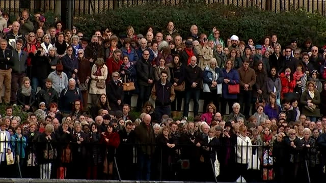 stockvideo's en b-roll-footage met world war one centenary armistice day commemorations various shots people standing for two minute silence cranes in city of london over buildings... - imperial war museum museum