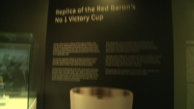 descendants of german fighter pilot meet relatives of his first kills tilt down exhibiton panel showing replic of the red baron's victory cup - itv london tonight weekend点の映像素材/bロール