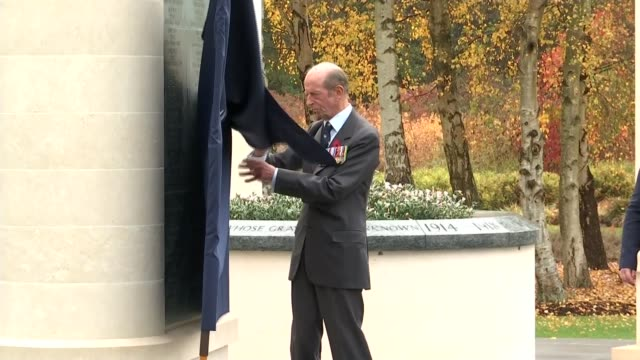 world war one memorial to the forgotten casualties of the war unveiled people sitting in tent prince edward duke of kent unveiling monument plaque... - memorial plaque stock videos and b-roll footage