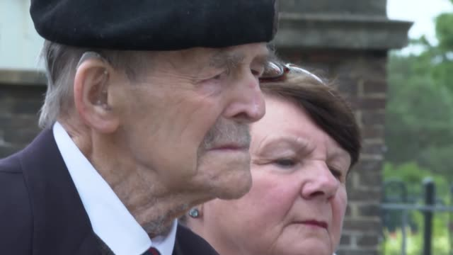 75th anniversary of dday marked in normandy england west sussex worthing various of people at ceremony as man plays last post sot major edwin 'ted'... - france stock videos & royalty-free footage