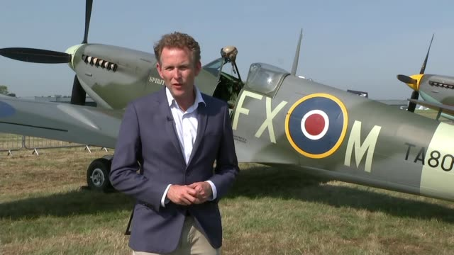 80th anniversary of the battle of britain; england: london/kent: biggin hill: ext reporter to camera sot - biggin hill stock videos & royalty-free footage