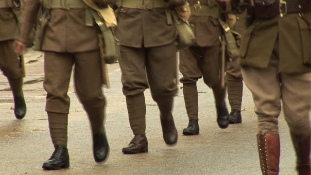world war two army soldiers marching in parade - parade stock videos and b-roll footage
