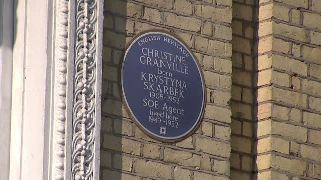 blue plaque unveilled for former spy christine granville; england: london: kensington: ext clare mulley interview sot 'lexham garden' windows of... - war and conflict stock videos & royalty-free footage