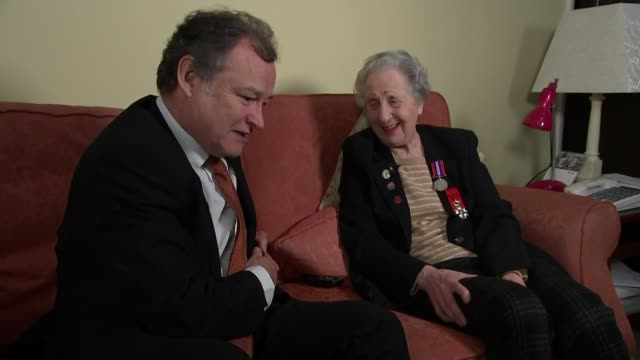 DDay landings switchboard operator to receive Legion d'honneur ENGLAND INT Marie Scott talking to reporter