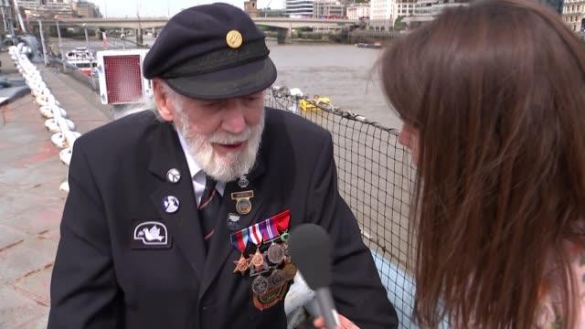 DDay survivor Jim Radford and songwriter recounts traumatic experience ENGLAND London HMS Belfast EXT Jim Radford interview SOT
