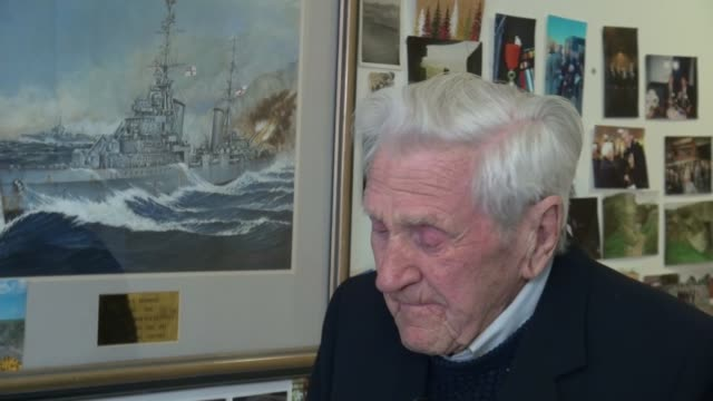 DDay veteran awarded the Legion d'Honneur ENGLAND London Mitcham INT John Nicholls interview SOT Medals on blazer of Nicholls Linda Briers interview...