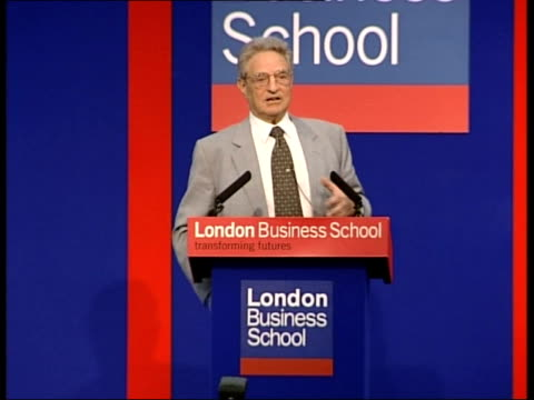 confidence effects; itn england: london: london business school: int george soros speech sot - think we are in crisis situation/ international... - worldcom stock-videos und b-roll-filmmaterial