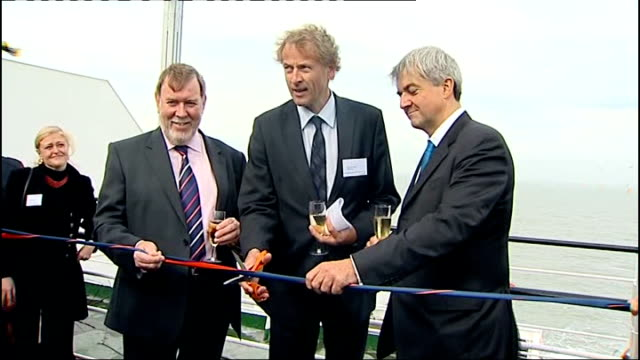 world's biggest offshore wind farm opens off the kent coast; chris huhne mp and vattenfall executive toasting opening of the thanet wind farm with... - biggest stock videos & royalty-free footage