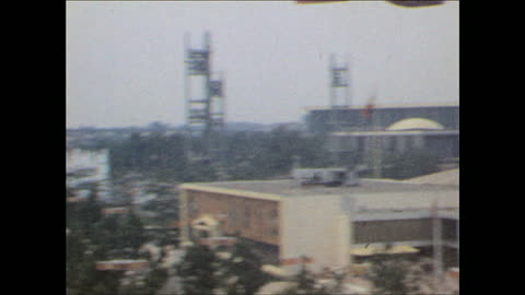 world's fair view from sky gondola on october 25, 1964 in flushing meadows, ny - world's fair stock videos & royalty-free footage