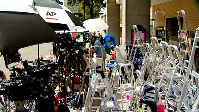 world's media at lindo wing for birth of royal baby england london paddington st mary's hospital lindo wing ext press and ladders behind railing /... - reuters stock videos & royalty-free footage