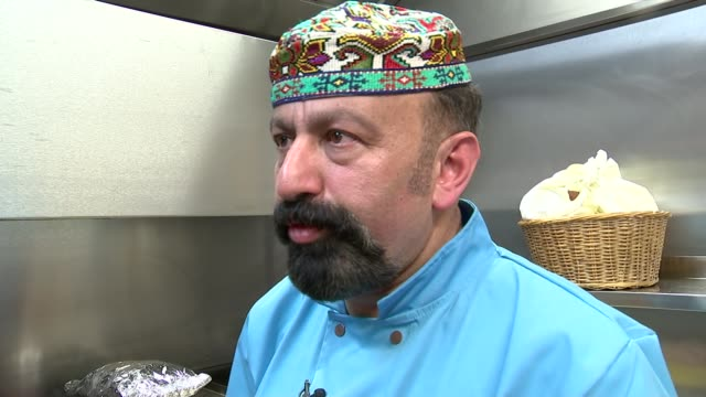 world's most expensive kebab prepared in restaurant; sahan interview sot / kebab prepared in kitchens of restaurant - expense stock videos & royalty-free footage