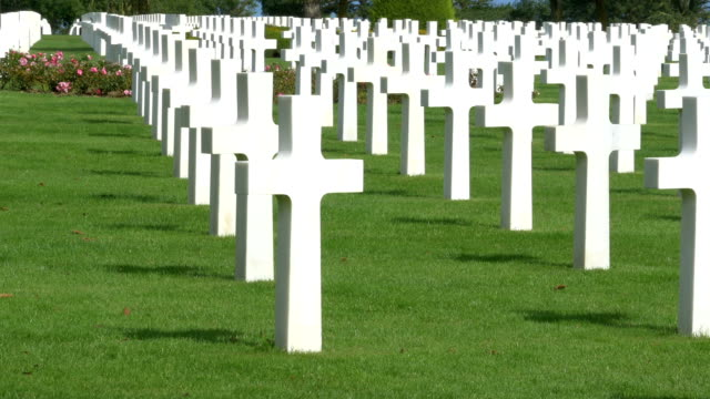 world-war ii american cemetery at omaha beach, colleville-sur-mer, france. - omaha beach stock videos and b-roll footage