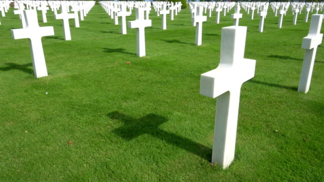world-war ii american cemetery, colleville-sur-mer, france. - cemetery stock videos & royalty-free footage