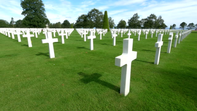 world-war ii american cemeteryworld-war ii american cemetery, colleville-sur-mer, france. - omaha beach stock videos and b-roll footage
