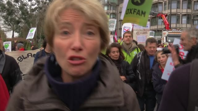 worldwide climate change protests ahead of un climate change conference; emma thompson interview as along with other protesters sot - invest in a... - エマ・トンプソン点の映像素材/bロール