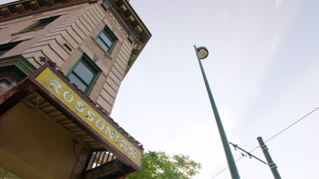 worm eye view shot of the rossonian hotel - denver stock videos & royalty-free footage