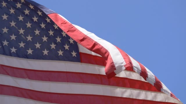 a worn american flag at a little league baseball game. - little league stock videos and b-roll footage