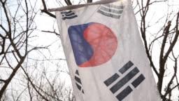 Worn Korean Flag Blowing In Wind Lens Flare