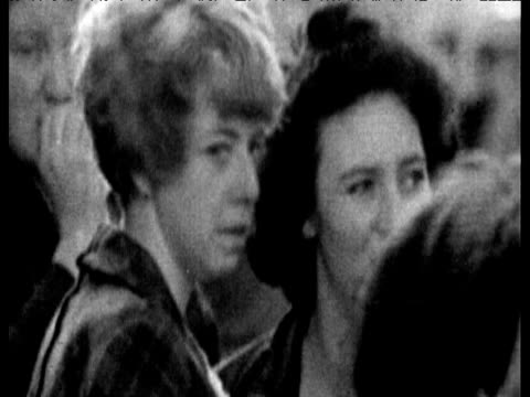 worried relatives wait for news as men carry stretcher aberfan disaster 21 oct 66 - 1966 stock videos & royalty-free footage