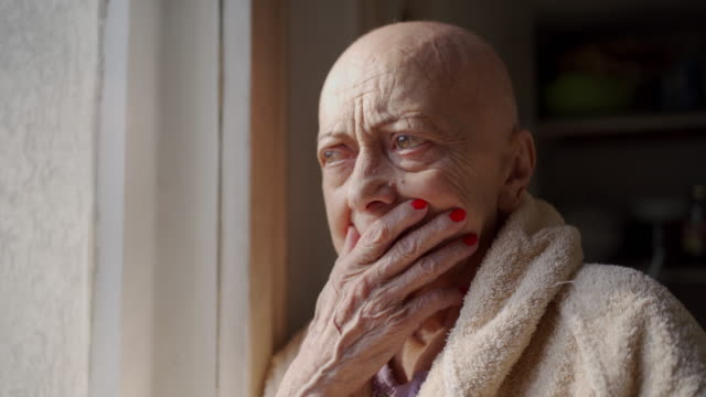 worried senior woman with cancer - only senior women stock videos & royalty-free footage