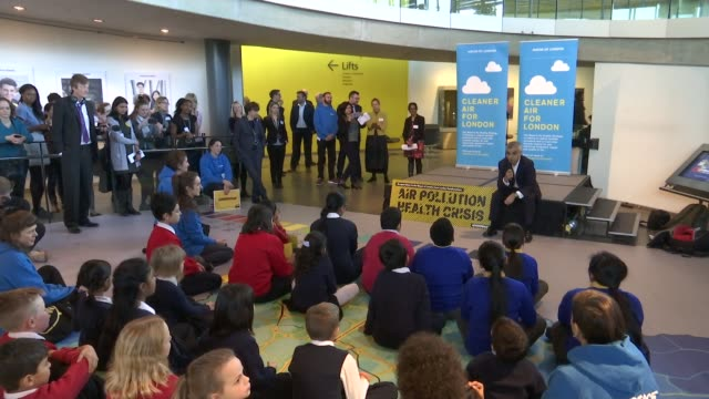 Worries over air quality trigger pollution alerts across the country City Hall INT Various of Sadiq Khan talking to schoolchildren about air...