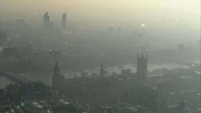 Worries over air quality trigger pollution alerts across the country AIR VIEW Smog clouds over Houses of Parliament
