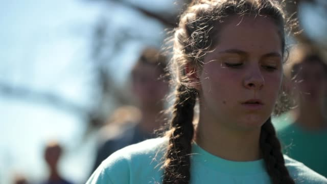 worshipers at hiland park baptist church attend sunday service in the parking area of the church after the building was damaged by hurricane michael... - destruction stock videos & royalty-free footage