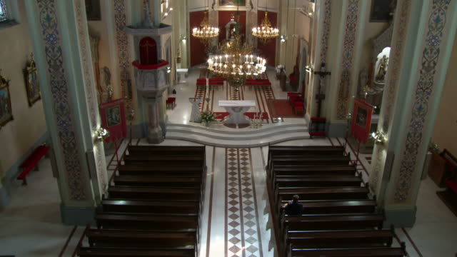 hd: worshipper praying in an empty church - worshipper stock videos and b-roll footage