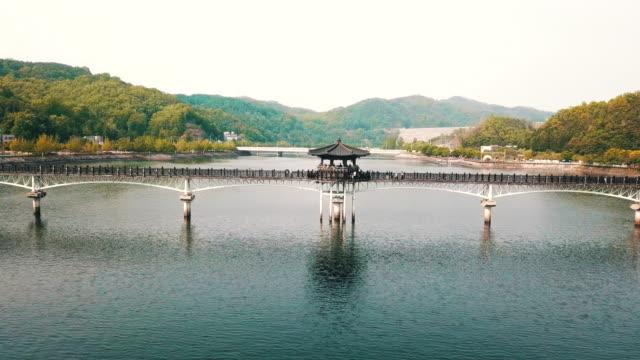 woryeonggyo bridge across nakdonggang river / andong-si, gyeongsangbuk-do, south korea - octagon stock videos & royalty-free footage