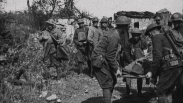 wounded being taken from front / france - 1917 stock-videos und b-roll-filmmaterial