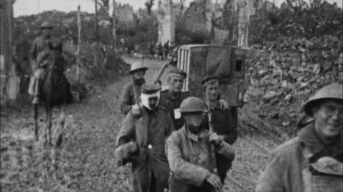 wounded soldiers and trucks on rural road / france - one animal stock-videos und b-roll-filmmaterial
