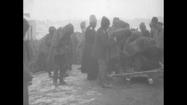 wounded turkish pows climb aboard sled for transport after their capture by the russian caucasus army during the caucasus campaign of world war i /... - ottoman stock videos & royalty-free footage