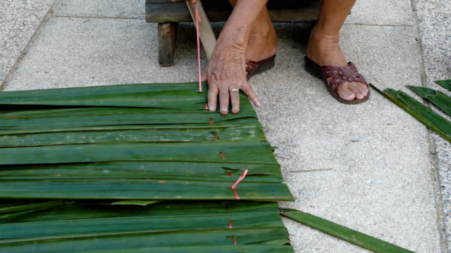 woven grass roofing sheets - straw stock videos & royalty-free footage