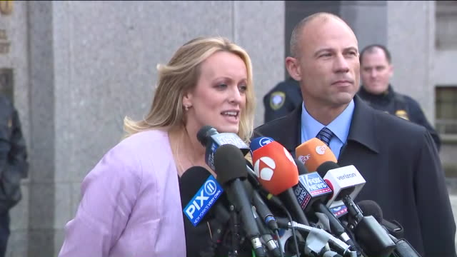 stormy daniels speaks outside a court hearing in new york - stormy daniels video bildbanksvideor och videomaterial från bakom kulisserna