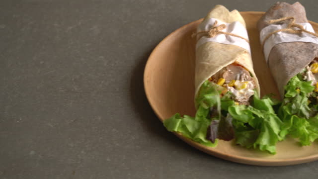wrap salad roll with tuna corn salad
