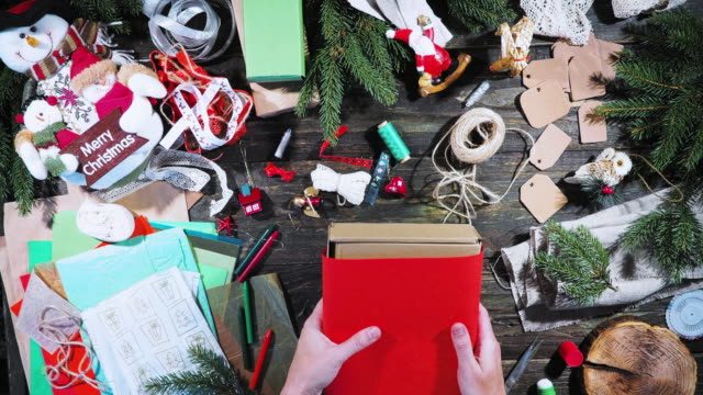 wrapping christmas presents - christmas wrapping paper stock videos & royalty-free footage