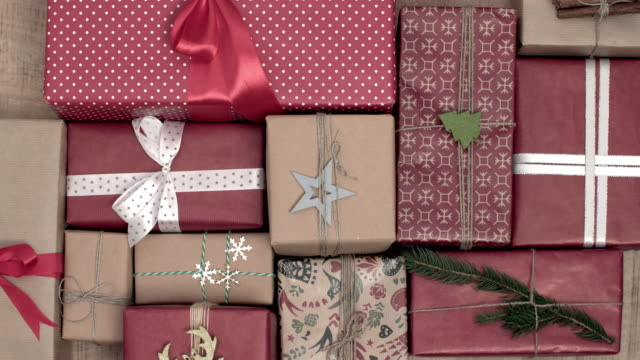 wrapping the christmas present/ debica/ poland - sale stock videos & royalty-free footage