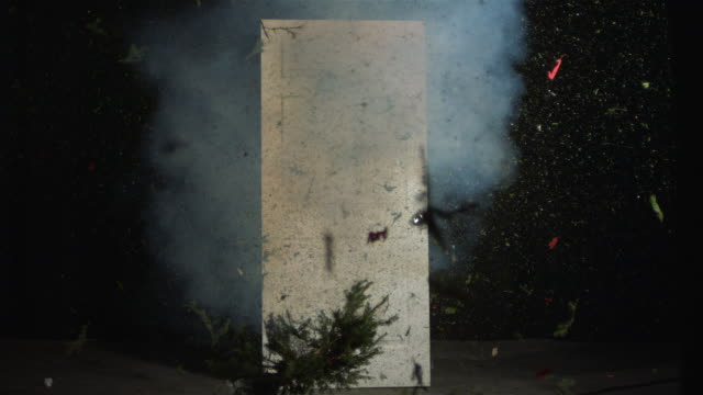 WS SLO MO Wreath Exploding / Studio, New York, USA