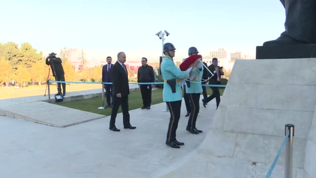 wreath-laying ceremony is held at ataturk monument in front of the grand national assembly of turkey during a ceremony to pay tribute to mustafa... - war stock-videos und b-roll-filmmaterial