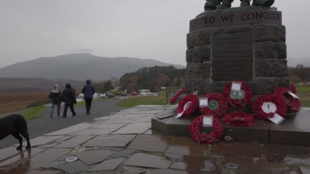 wreaths are displayed at commando memorial to commemorate and pay respect to the sacrifice of service men and women who fought in the two world wars... - wreath stock videos & royalty-free footage